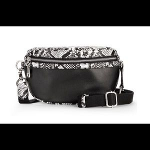 Snake print leather look fanny pack